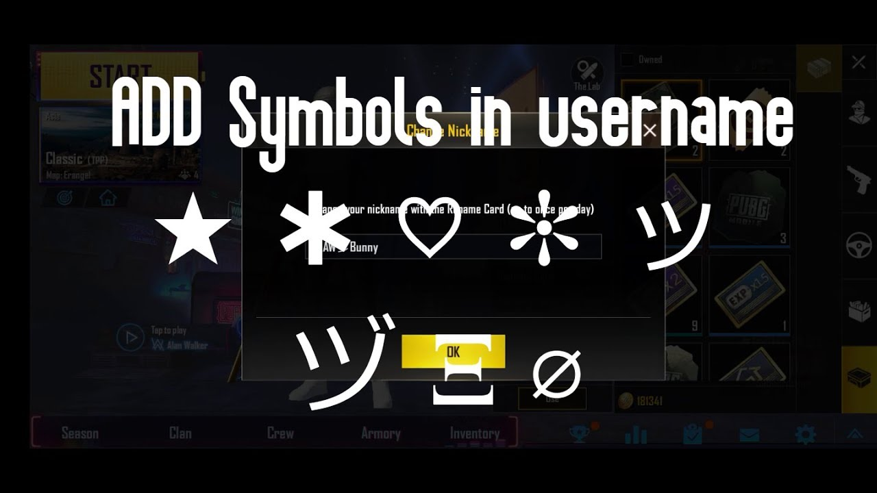 Pubg Name Symbols: How to use Symbols in Pubg name
