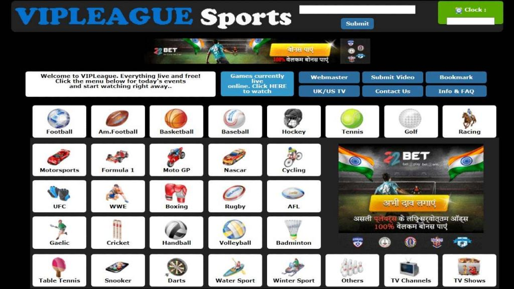 vip league website to stream live sports on desktop