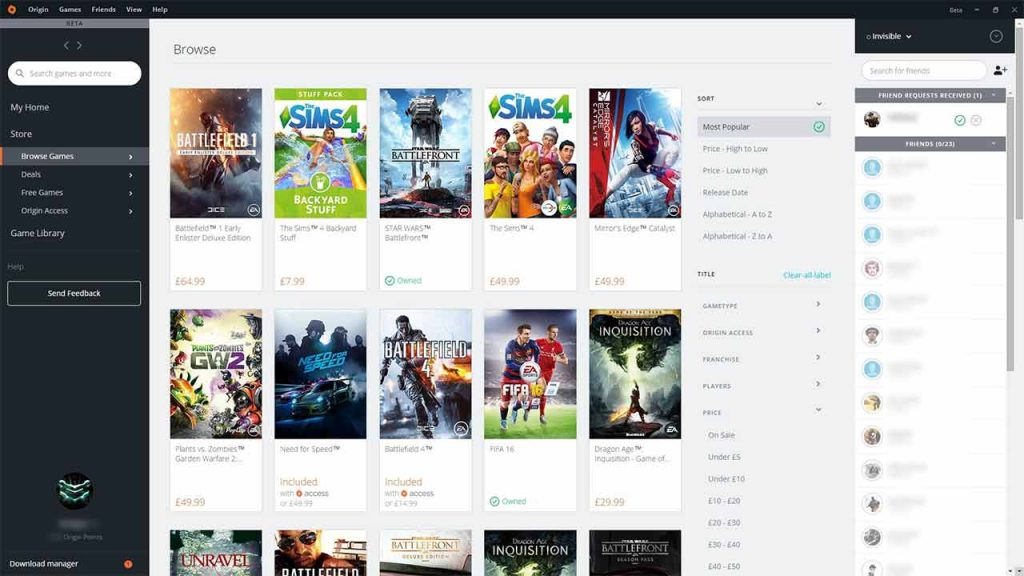 Origin website download videogames