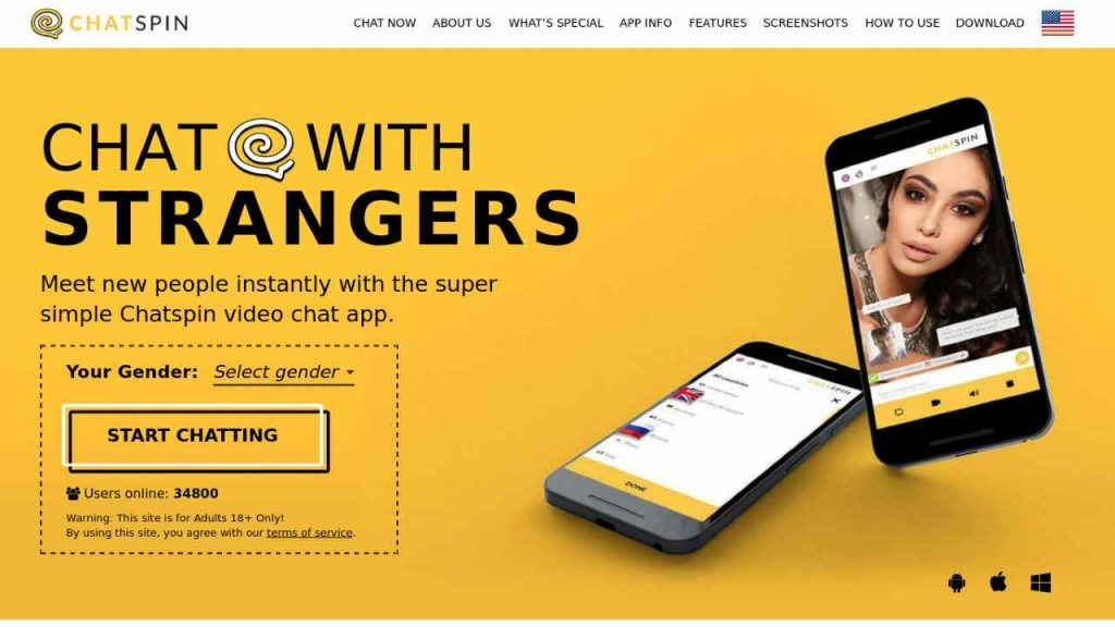 Chatspin is an amazing and robust websites that lets users connect with strangers